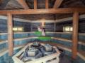 Finská rustikální sauna obložená 200-letým dřevem, kapacita až 80 lidí